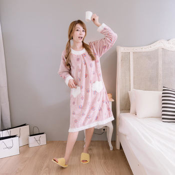 【MFN蜜芬儂】雲朵熱氣球法蘭絨保暖洋裝(可可色)