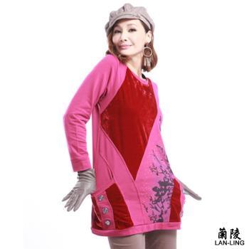 蘭陵混搭材質設計長版上衣3入  103-09-39