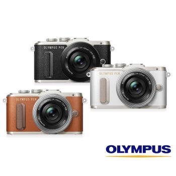 送64G+清潔組+保護貼+回函送禮券+原廠皮套~OLYMPUS E-PL8+14-42mm EZ/40-150mm R 雙鏡組(EPL8,公司貨)