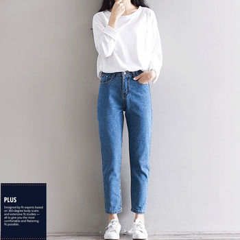 【SCL南加州丹寧時尚】B1626 好穿款百搭高腰水洗中藍九分牛仔褲