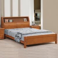 Bernice-伊格樟木5尺收納書架雙人床(不含床墊)