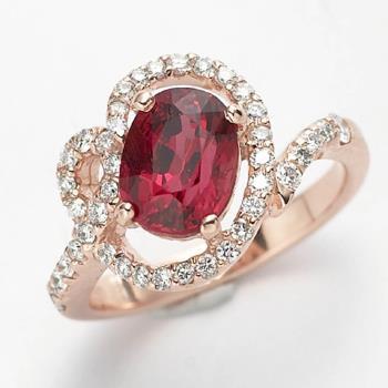 Dolly 迷人丰采尖晶石美鑽戒 - 優雅玫瑰金