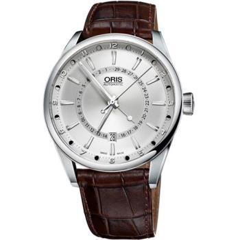 Oris Artix 指針式月亮周期腕錶-銀x咖啡/41mm 0176176914051-0752180FC
