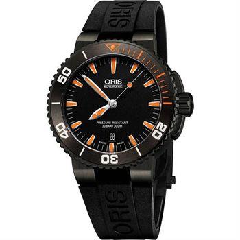 Oris Aquis 時間之海300米潛水機械腕錶-黑x橘/43mm 0173376534259-0742634GEB