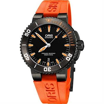 Oris Aquis 時間之海300米潛水機械腕錶-灰框x橘/43mm 0173376534259-0742632GEB
