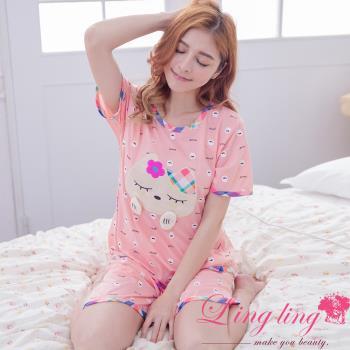 lingling日系 全尺碼-貓貼布滿版Q版牙齒短袖二件式睡衣組(豆沙粉)A2950-01