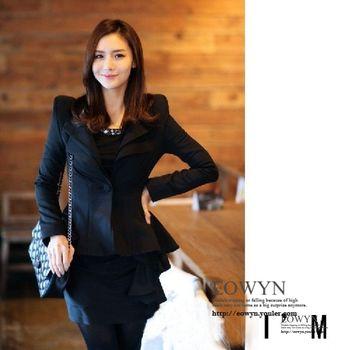 春短外套韓版女式修身職業通勤OL小西裝氣質燕尾服黑色/白色/S/M/L/XL