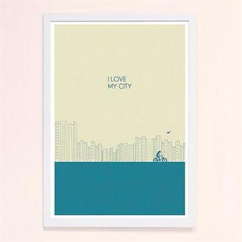 【摩達客】西班牙知名插畫家Judy Kaufmann藝術創作海報掛畫裝飾畫-我愛我的城市(藍綠色) (附Judy本人簽名)(含木框)