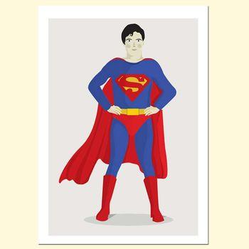 【摩達客】西班牙知名插畫家Judy Kaufmann藝術創作海報掛畫裝飾畫-超人 (附Judy本人簽名)(含木框)