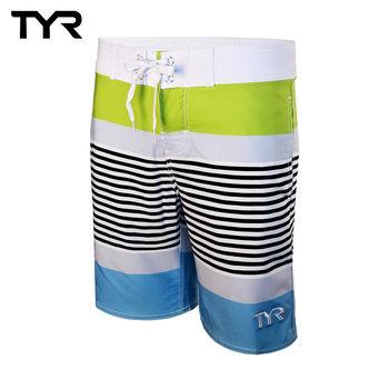 美國TYR男款彈性海灘褲Zag Stripe Boardshort VIridian Green台灣總代理
