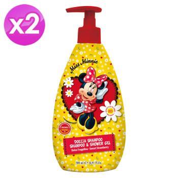 【義大利進口 Disney】Minnie洗髮沐浴乳(甜草莓香)-500ml ( 2入組 )