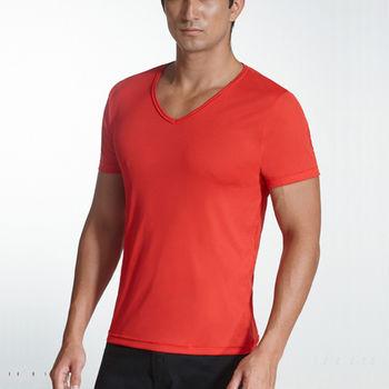 超值5件【三槍牌】時尚型男經典排汗速乾E棉V領短袖衫