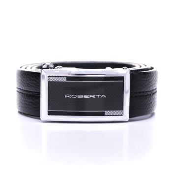 Roberta Colum - 型男設計款自動金屬滑扣黑牛皮皮帶