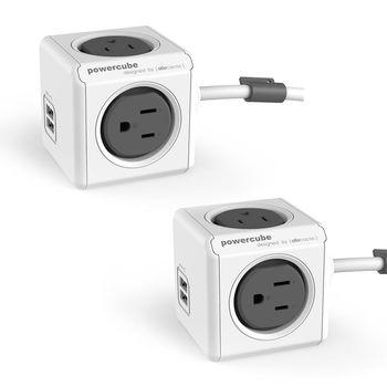 PowerCube 魔術方塊 USB兩用擴充插座-延長線1.5m(2入組)