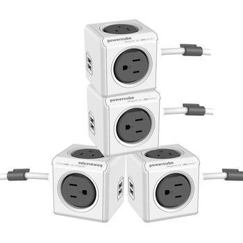 PowerCube 魔術方塊 USB兩用擴充插座-延長線1.5m(4入組)