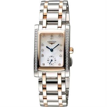 LONGINES DolceVita 18K真鑽獨立小秒針腕錶-珍珠貝x雙色版/23mm L55025897