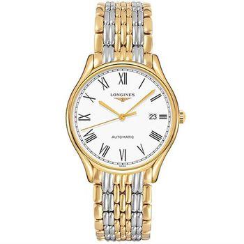 LONGINES 浪琴 Lyre 琴韻羅馬經典機械腕錶-白x雙色/38mm L49602117