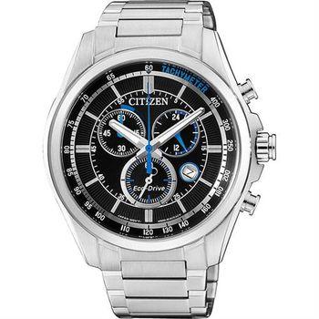 CITIZEN Eco-Drive 經典光動能計時腕錶-銀/42mm AT2130-83E