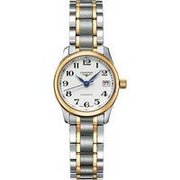 LONGINES Master 18K金大三針日期機械女錶-白x雙色版/25.5mm L21285787