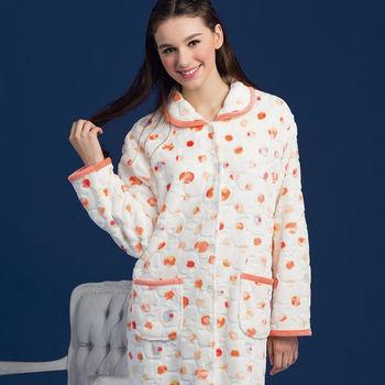 【皮爾卡登】純白彩點舒適法蘭絨睡袍