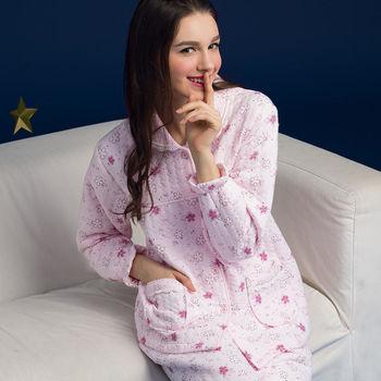 【皮爾卡登】粉色櫻花鋪棉居家睡衣褲