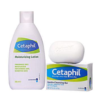 【Cetaphil舒特膚】換季潤膚保濕組(溫和潔膚凝脂127g+長效潤膚乳200ml)