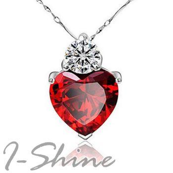 【I-Shine】迷幻之愛-正白K紅水晶愛心項鍊