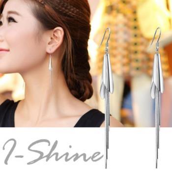 【I-Shine】迷人氣質-正白K 馬蹄形流蘇垂墜耳環