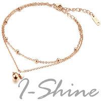 【I-Shine】甜蜜蝴蝶結-西德鋼-蝴蝶結圓珠鈦鋼腳鍊
