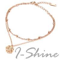 【I-Shine】美麗佳人-西德鋼-山茶花造型鈦鋼腳鍊(現貨)