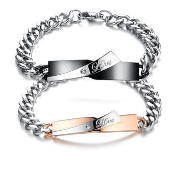 【I-Shine】愛的約定-西德鋼精緻鑲鑽 鈦鋼情侶手環(對環組)