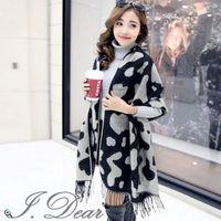【I.Dear】韓系可愛乳牛紋保暖圍巾/披肩