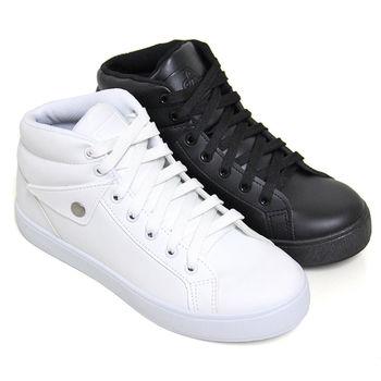 【Pretty】率性綁帶內增高中筒休閒鞋-白色、黑色