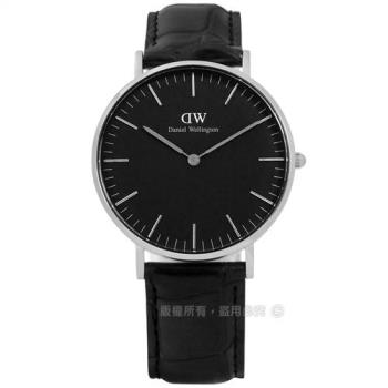 DW Daniel Wellington★贈玻璃膜 / DW00100147 / Classic Black 經典壓紋真皮手錶 黑色 36mm