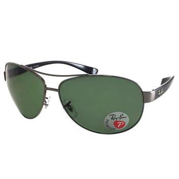 【Ray Ban 雷朋】3386-004/9A-67 加大版-包覆型偏光太陽眼鏡(亮框#雷朋綠鏡面)