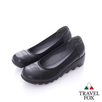 Travel Fox (女) 小甜蜜 圓頭牛皮超防滑楔型淑女鞋- 甜黑