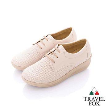 Travel Fox (女) 輕量好走系列 牛皮微楔跟休閒鞋- 米