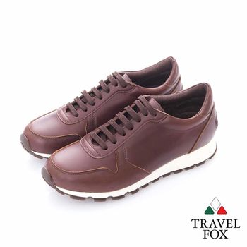 Travel Fox (男)- 光采 全牛皮抛光都會慢跑運動鞋- 咖