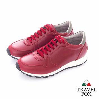 Travel Fox (男)- 光采 全牛皮抛光都會慢跑運動鞋- 紅