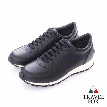 Travel Fox (男)- 光采 全牛皮抛光都會慢跑運動鞋- 黑