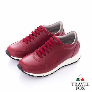 Travel Fox (女) 光采 全牛皮抛光都會慢跑運動鞋- 暗紅