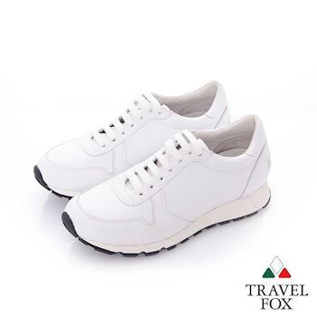 Travel Fox (女) 光采 全牛皮抛光都會慢跑運動鞋- 純白