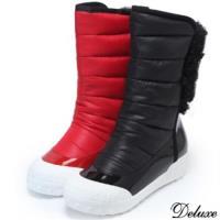 【Deluxe】混搭材質時尚個性輕柔保暖極簡太空鞋(黑★紅)-883-21
