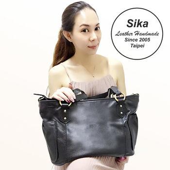 Sika義大利時尚牛皮簡約經典兩用手提包L6131-03質感黑