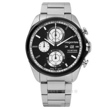 elegantsis / ELJT42R-6B09MA / 競速冒險因子三環計時不鏽鋼手錶 黑色 47mm