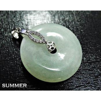 【SUMMER寶石】天然緬甸A貨翡翠平安扣項鍊(冰種放光-M8-147)