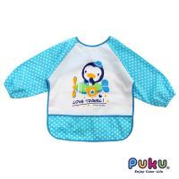 任-PUKU藍色企鵝 - 長袖防水圍兜衣(點點藍)