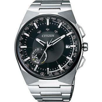 CITIZEN Eco-Drive 衝鋒衛星對時鈦金屬旗艦腕錶-黑x銀/45mm CC2006-53E