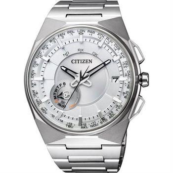 CITIZEN Eco-Drive 衝鋒衛星對時鈦金屬旗艦腕錶-白x銀/45mm CC2001-57A