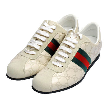 GUCCI 經典Guccissima GG紅綠紅織帶麂皮飾邊黑底休閒女鞋(白)